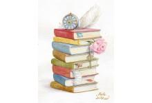 Натюрморт с книгами и старинными часиками