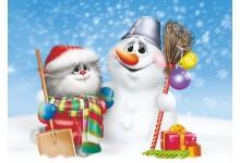 В обнимку со снеговиком