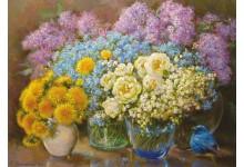 Весенние цветы и синяя птичка