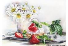 Ромашки и клубника