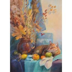 Осенний натюрморт с котом