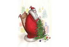 Дед Мороз вяжет елки