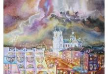 Гродно. Драматический театр и Фарный костел / Молния